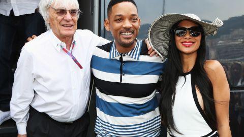 F1 supremo Bernie Ecclestone with Hollywood actor Will Smith and Lewis Hamilton's girlfriend Nicole Scherzinger.