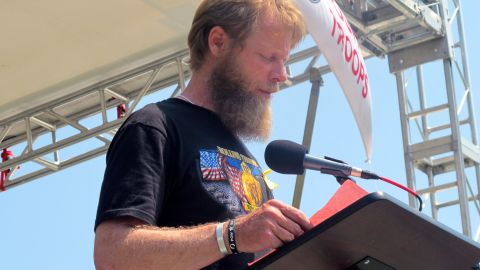 Robert Bergdhal speaks during Sunday's event. His son, Sgt. Bowe Bergdhal, was captured in Afghanistan in 2009.