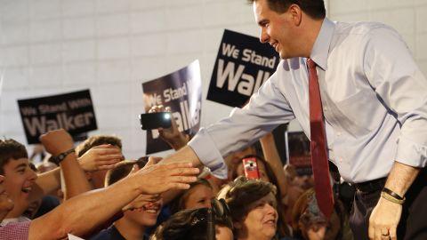 Wisconsin GOP Gov. Scott Walker campaigned in Waukesha, Wisconsin on May 24, 2012.
