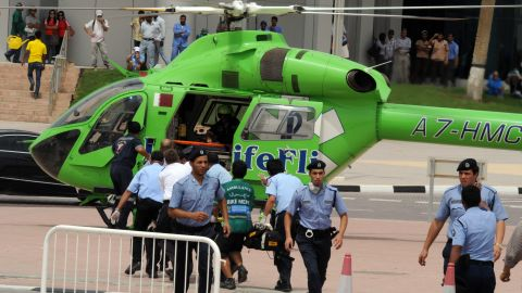 A rescue helicopter waits to transport victims to the hospital.