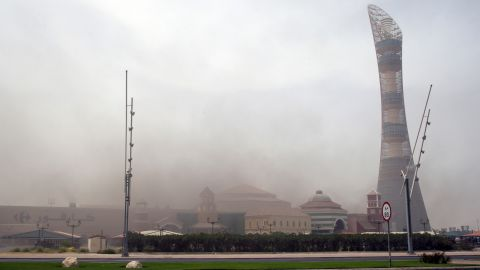"""Smoke rises above the shopping center in the city's west end. The upscale mall bills itself as """"the newest and the largest entertainment center in Doha."""""""