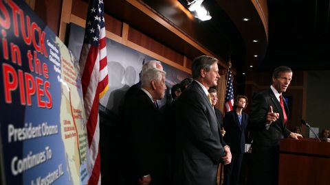 Senate Republicans, including John Thune, right, discuss the Keystone XL pipeline project at a news conference in March.