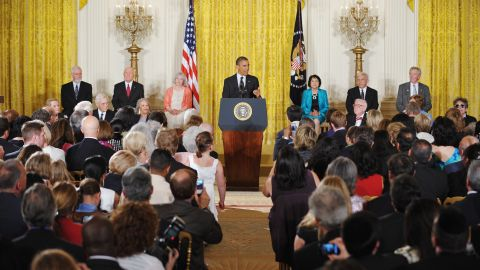President Barack Obama speaks during the Presidential Medal of Freedom award ceremony on Tuesday. The Medal of Freedom is the nation's highest civilian honor. Among the recipients were three posthumous awardees, including Gordon Hirabayashi, who fought the internment of Japanese Americans during World War II.