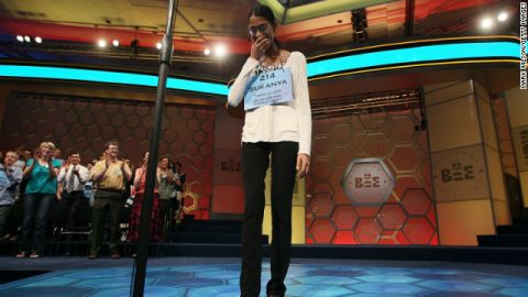 Sukanya Roy of South Abington Township, Pennsylvania reacts after winning the 2011 Scripps National Spelling Bee competition June 2, 2011 in National Harbor, Maryland.