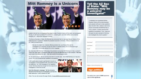 """Birthers, meet """"unicorners"""" -- a liberal group calling for proof that Mitt Romney is not a unicorn."""