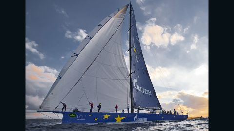 """The """"supermaxi"""" yacht is 30 meters long, 5.3 meters wide and has a mast height of 44 meters."""