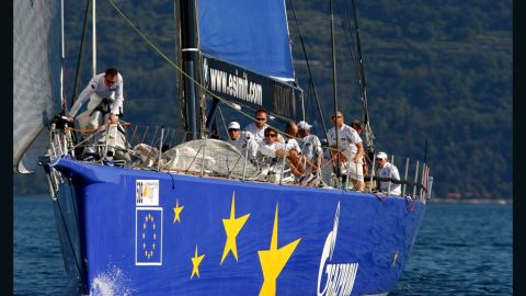 """The """"Esimit Europa 2"""" is the first sailing boat to compete under the European emblem and the first to be given the honor to fly the European flag."""
