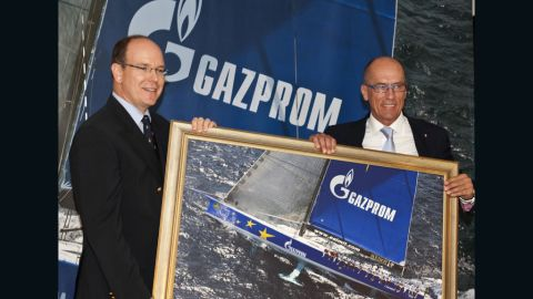 """Igor Simcic (right) is the Slovenian businessman who founded the """"Esimit"""" project in 1995. Here he is pictured with Prince Albert of Monaco receiving the """"Yacht Club de Monaco"""" membership in 2011."""