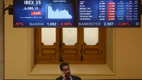 A screen displays the IBEX 35 curve at Madrid's stock exchange on Wednesday.