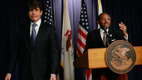 """<strong>Rod Blagojevich,</strong> the one-time Illinois governor who was convicted of political corruption charges, left, denied he tried to sell a vacant U.S. Senate seat once held by Barack Obama: """"I will fight until I take my last breath. <a href=""""http://www.cnn.com/2008/POLITICS/12/19/blagojevich.speaks/index.html?_s=PM:POLITICS"""">I have done nothing wrong</a>."""""""