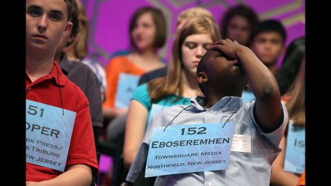 Spellers anxiously wait their turn during the third round. There were 278 spellers in the 85th annual competition.