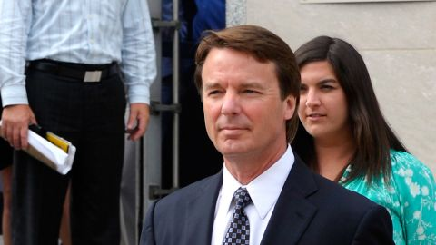 GREENSBORO, NC - MAY 29: Former U.S. Sen, John Edwards leaves with his mother Bobbie Edwards (L), father Wallace Edwards (R) and daughter Cate Edwards after the seventh day of jury deliberations at federal court May 29, 2012 in Greensboro, North Carolina.