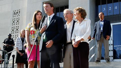 John Edwards addresses the media alongside his daughter and parents Thursday outside of the federal courthouse in Greensboro, North Carolina.