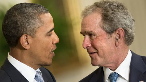 """Bush was in an equally joking mood during the event. """"Mr. President,"""" Bush said, """"when you are wandering these halls as you wrestle with tough decisions, you will now be able to gaze at this portrait and ask, what would George do?"""""""