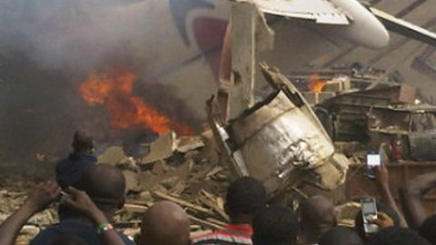 A photograph taken at the site of the Dana Airlines passenger plance that crashed into a building in Lagos, Nigeria on Sunday.
