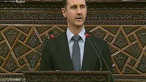 Syrian President Bashar al-Assad addresses parliament in Damascus on Sunday.