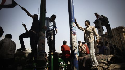 Egyptians gather in Cairo's Tahrir Square on Sunday, June 3, for a second day of protests over former President Hosni Mubarak's sentence of life in prison.