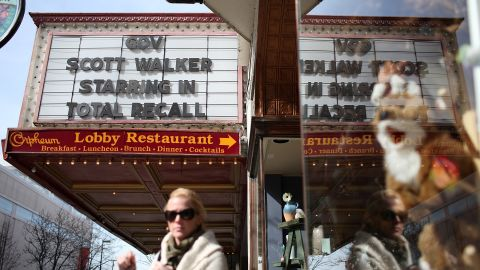 """The marquee at the Orpheum Theatre in Madison, Wisconsin, mocks Walker with """"Total Recall"""" movie reference on March 11, 2011."""