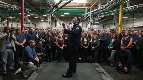 Walker visits Quad Graphics during a campaign stop in Sussex, Wisconsin, on June 1.