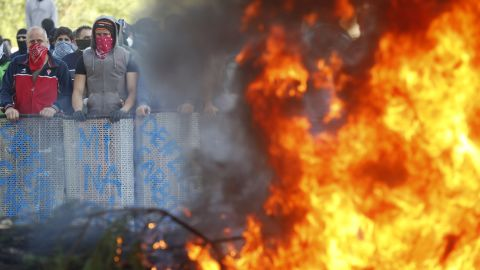 Spanish miners burn tires during an anti-austerity demonstration in Vega del Rey, near Oviedo, in northern Spain on June 4, 2012.