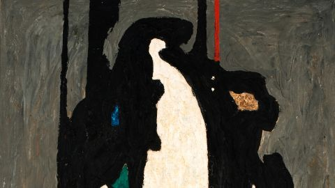 """In the late 1930s and early 1940s in pieces such as """"PH-313"""" (1942), the artist starts to move """"closer to his abstract expressionist style,"""" says Dean Sobel, director of the Clyfford Still Museum in Denver."""
