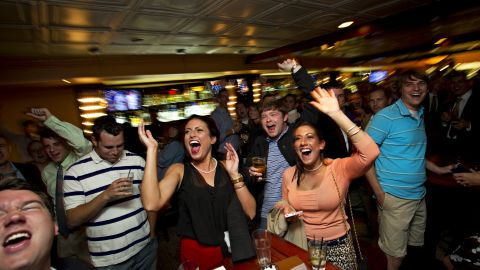 Walker supporters celebrate his victory Tuesday at Bullfeathers restaurant in Washington.