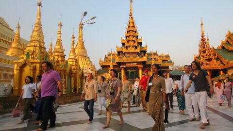 Tourists visit the Shwedagon Pagoda in Yangon, Myanmar on April 28, 2012.