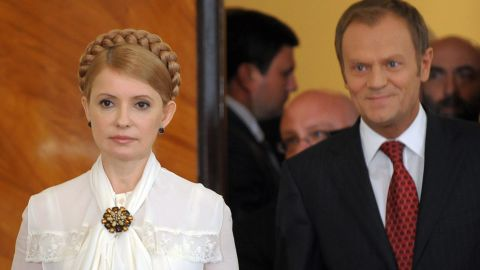 Yushchenko and Prime Minister Yulia Tymoshenko -- seen here with Polish counterpart Donald Tusk (R) -- had  come to power on the back of Ukraine's Orange Revolution.