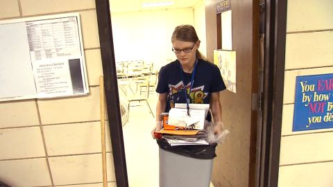 Dawn Loggins is working as a janitor to make ends meet.