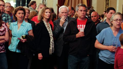 Barrett supporters watch election results come in Tuesday stacking in Walker's favor.