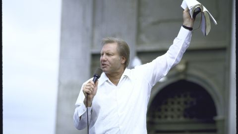 The famous TV preacher was caught with a prostitute in a New Orleans hotel in 1988, but his tearful televised confession kept his $12-million-a-year, 10,000-employee religious empire together until he was linked to another prostitute in 1991. Lawsuits and an Internal Revenue Service tax lien put an end to Jimmy Swaggart's media reign.