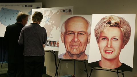 """For years, the FBI's most-wanted fugitive -- James """"Whitey"""" Bulger -- and his girlfriend Catherine Greig lived as """"Charlie and Carol Gasko"""" in a palm-tree-lined oceanside apartment near Los Angeles before their capture in 2011.  Here, illustrations of Bulger's and Greig's possible likenesses are displayed at a news conference in 2004."""