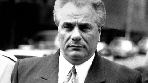"""New York Mafia chief John Gotti was known as the """"Dapper Don"""" for his expensive suits and """"Teflon Don"""" due to government charges failing to stick in three trials. He was later convicted of murder and racketeering. He died of cancer at age 61 in 2002 while serving a life sentence."""