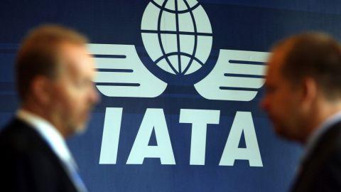 International Air Transport Association logo is seen at their general meeting on June 8, 2009 in Kuala Lumpur.