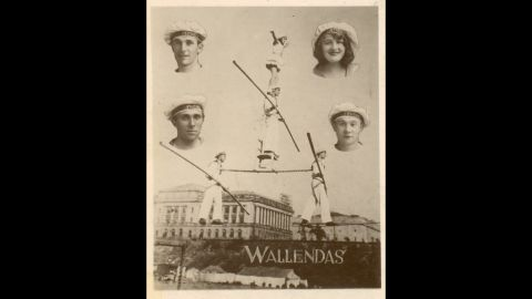 A promotional poster shows the original performers who came to America in 1928. Clockwise from top left are Karl Wallenda, Helen Wallenda, Joe Geiger and Herman Wallenda.