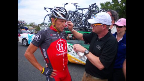 In May 2010, Armstrong crashes during the Amgen Tour of California. That same day, he denied allegations of doping made by former teammate Floyd Landis.