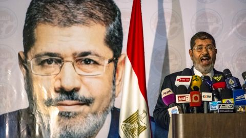 CAIRO, EGYPT - JUNE 13: Egyptian presidential candidate Mohamed Morsi of the Muslim Brotherhood speaks at a press conference on June 13, 2012 in Cairo, Egypt. Egyptian candidates Mohamed Morsi and Ahmed Shafiq are pegged against each other in the second round of voting for the country's president to be held on the 16th and 17th of June. (Photo by Daniel Berehulak/Getty Images)