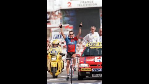 Armstrong wins the 18th stage of the Tour de France in 1995. He finished the race for the first time that year, ending in 36th place.