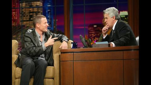 """Jay Leno interviews Armstrong on """"The Tonight Show"""" in 2003."""