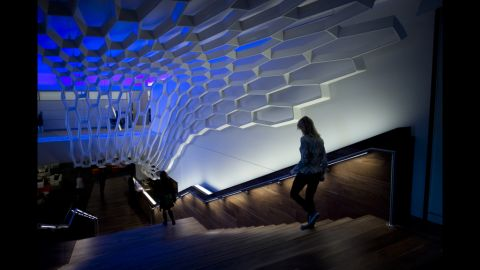 """The company remodeled an area of basement conference rooms into the """"WorkCafe."""""""