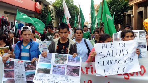 Paraguayan farmers take part in a protest on Wednesday.