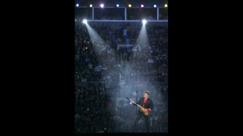 In 2005, McCartney performs during the Super Bowl XXXIX halftime show in Jacksonville, Florida.