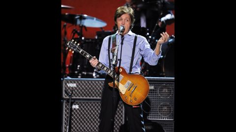 McCartney performs onstage at the 54th annual Grammy Awards in Los Angeles on February 12, 2012.