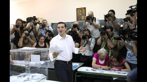 Alexis Tsipras, the candidate of Greece's Syriza party, casts his vote in the second round of general elections at a polling station in Athens on Sunday.