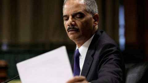 Attorney General Eric Holder answers questions while testifying before the Senate Judiciary Committee on June 12, 2012.