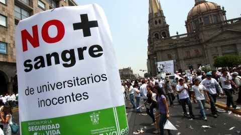 University of Guadalajara students march in May against the growing violence in Mexico.