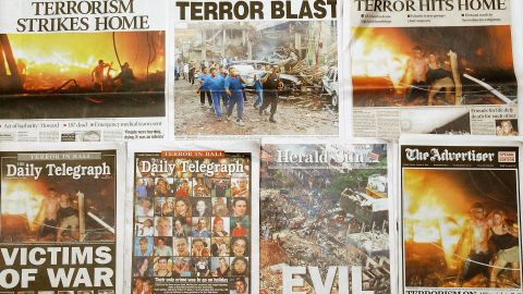 """After the Bali bombings, front page headlines in Australian newspapers described the attacks as """"evil"""" and those who died and were injured as """"victims of war."""""""