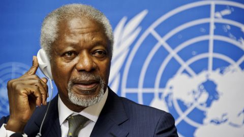 Arab League Special Envoy for Syria, Kofi Annan, listens to the media questions during a press conference on June 22, 2012, at the United Nations Office in Geneva. Annan urged the international community to raise the level of pressure on Syria's rival sides. AFP PHOTO / SEBASTIEN BOZON (Photo credit should read SEBASTIEN BOZON/AFP/GettyImages)