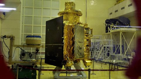 India's first unmanned lunar probe, Chandrayaan-1, is shown here in 2008. It was launched in October of the same year from the space center in Sriharikota, Andhra Pradesh, India. In 2009,  radio contact with Chandrayaan-1 was lost.