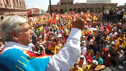 "Democratic Revolution Party candidate Andres Manuel Lopez Obrador is pledging ""hugs, not bullets."""